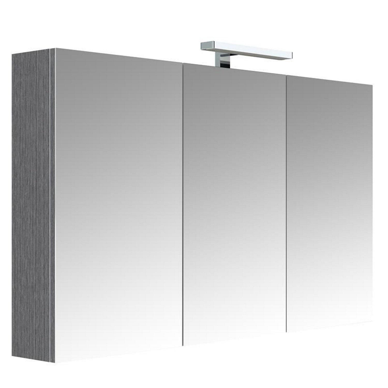 badkamer spiegelkast Allibert Juno Met verlichting 120x75,2x16 Donkergrijze Eik Allibert