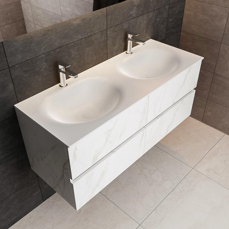 Ronde Inbouw Wasbak.Aqua Splash Badmeubel Aqs Valencia Carrara Mat 120 Cm Solid Surface Ronde Wasbak Zes Varianten