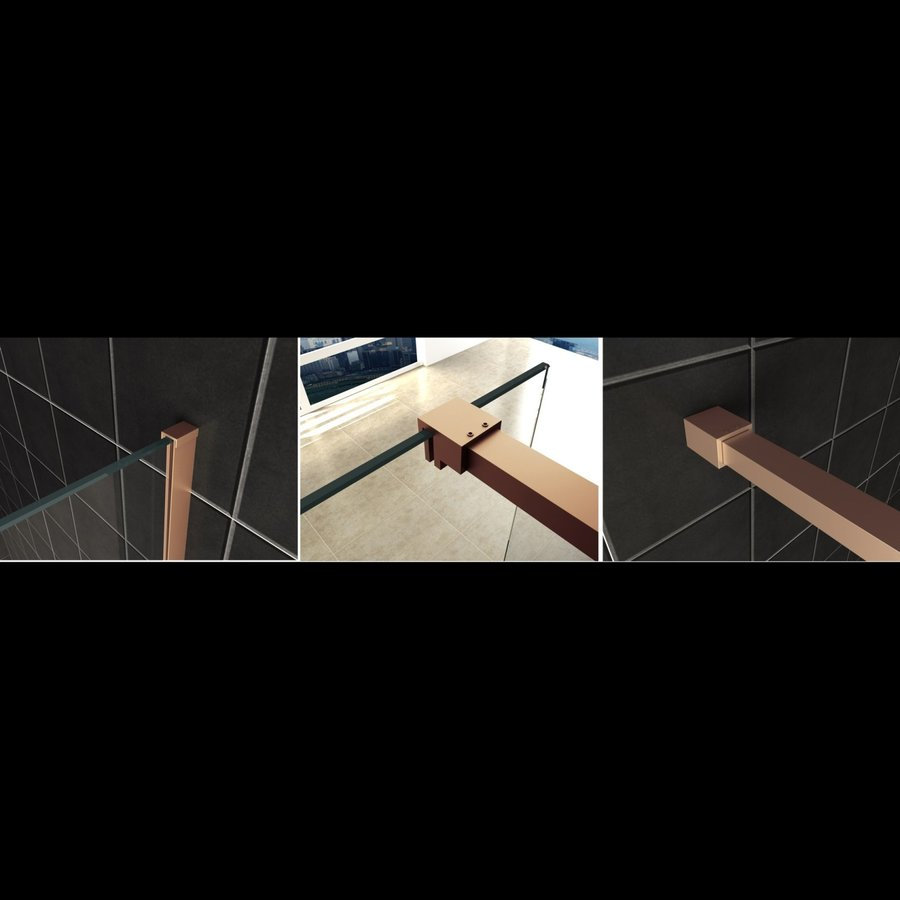 AQS Inloopdouche Pro Line Helder Glas Geborsteld Messing Koper Profiel en Stang (ALLE MATEN)