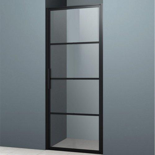 Nisdeur Lacus Tremiti 80x200 cm 6mm Helder Glas Mat Zwart Aluminium Profiel