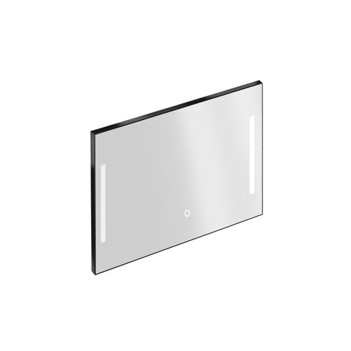 Badkamerspiegel met Verlichting Xenz Pacengo 100x70 cm Industrieel Zwart Frame en Spiegelverwarming