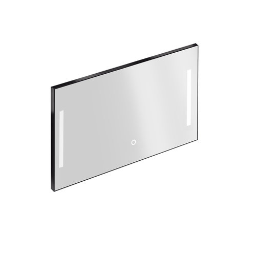 Badkamerspiegel met Verlichting Xenz Pacengo 120x70 cm Industrieel Zwart Frame en Spiegelverwarming