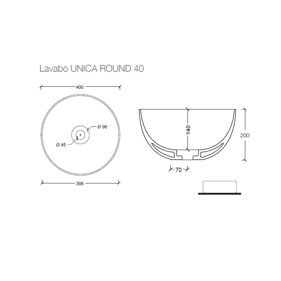 Ronde Wastafel Opbouw Salenzi Unica Round 40x20 cm Mat Zwart