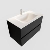 Badkamermeubel Solid Surface AQS Oslo 80x45 cm Mat Zwart Urban