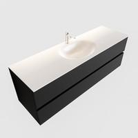 Badkamermeubel Solid Surface AQS Stockholm 150x45 cm Mat Zwart Urban (veertien varianten)