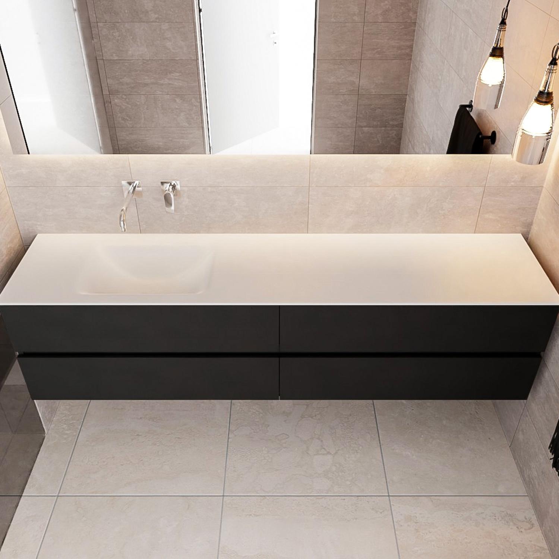 Badkamermeubel Solid Surface Aqs Oslo 200x45 Cm Mat Zwart Urban Zes Varianten Megadump Tiel