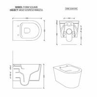 UP100 Toiletset 50 Civita Glans Wit Rimless Met bril En Drukplaat
