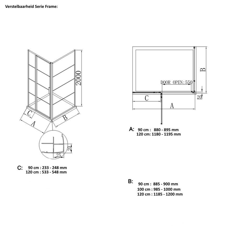 AQS Douchecabine Frame 8 mm NANO Glas Geborsteld Koper (ALLE MATEN)