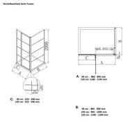 AQS Nisdeur Frame met Vast Paneel 8 mm NANO Glas Geborsteld Koper (90 of 120 cm)