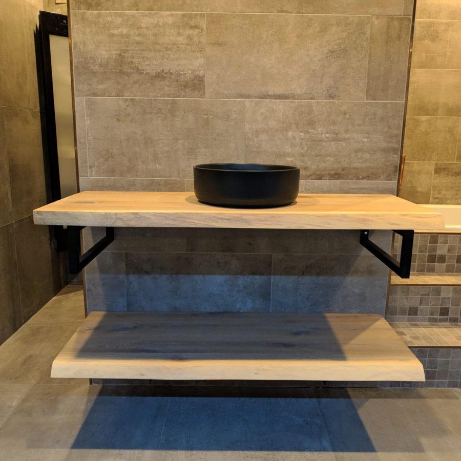 Badkamermeubel AQS Woodstone Bovenblad met Boomstamkant 60 cm (met beugels en waskom)