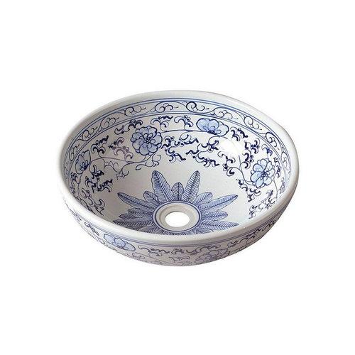 Waskom Sapho Priori Rond 42x15 cm Keramiek Bloemenpatroon Blauw / Wit