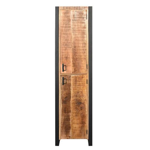 Kolomkast Boss & Wessing Mango Wood 200x50x50 cm Met Mat Zwart Metaal (rechts draaiend)