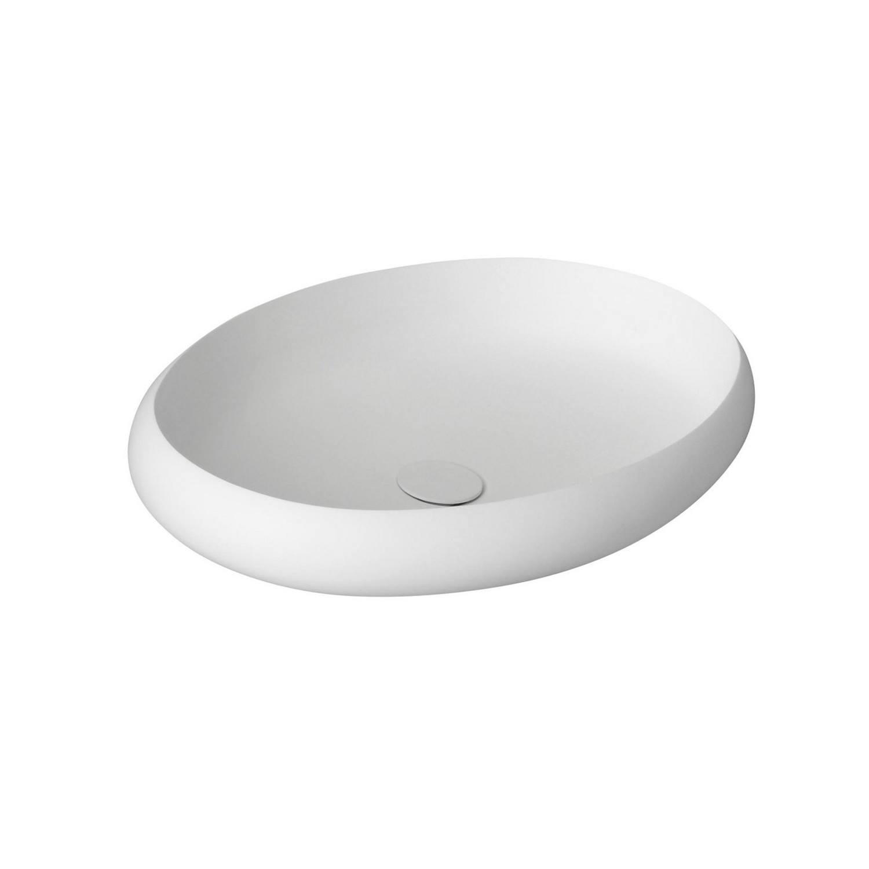 Waskom Sapho Thin Ovaal 60x40x11.2 cm Solid Surface Wit Sapho