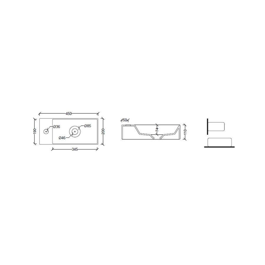 Salenzi Fonteinset Spy 45x20 cm Glans Wit (Keuze uit 8 kranen in 4 kleuren)