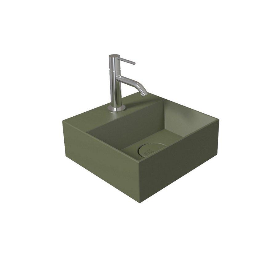 Salenzi Fonteinset Spy 30x30 cm Mat Legergroen (Keuze uit 8 kranen in 4 kleuren)