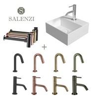 Salenzi Fonteinset Spy 30x30 cm Glans Wit (Keuze uit 8 kranen in 4 kleuren)