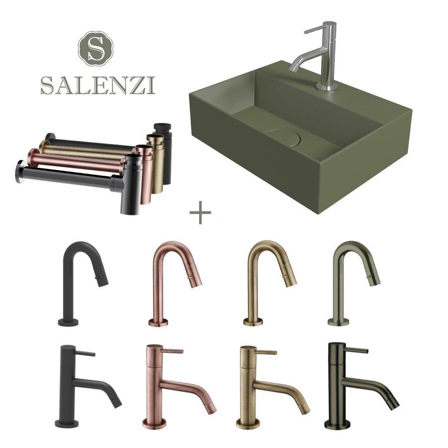 Salenzi Fonteinset Spy 40x30 cm Mat Legergroen (Keuze uit 8 kranen in 4 kleuren)