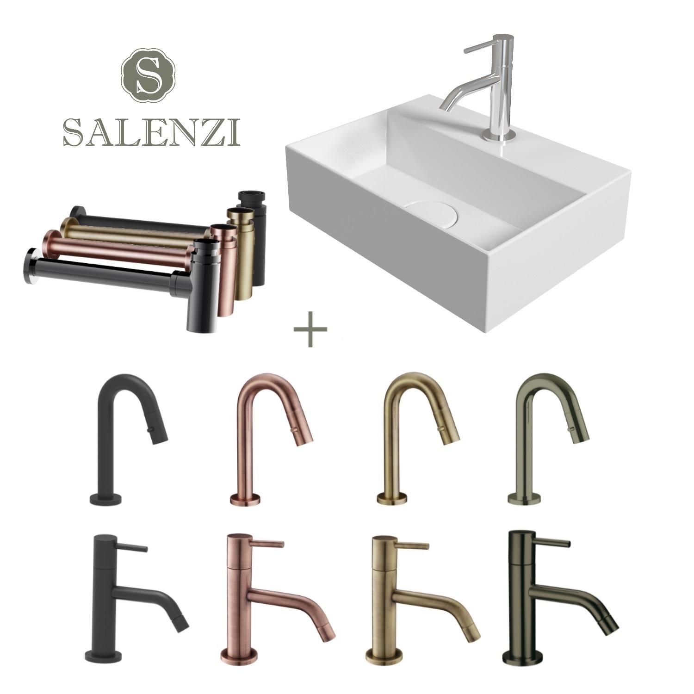 Salenzi Fonteinset Spy 40x30 cm Mat Wit - spy4030setmwit