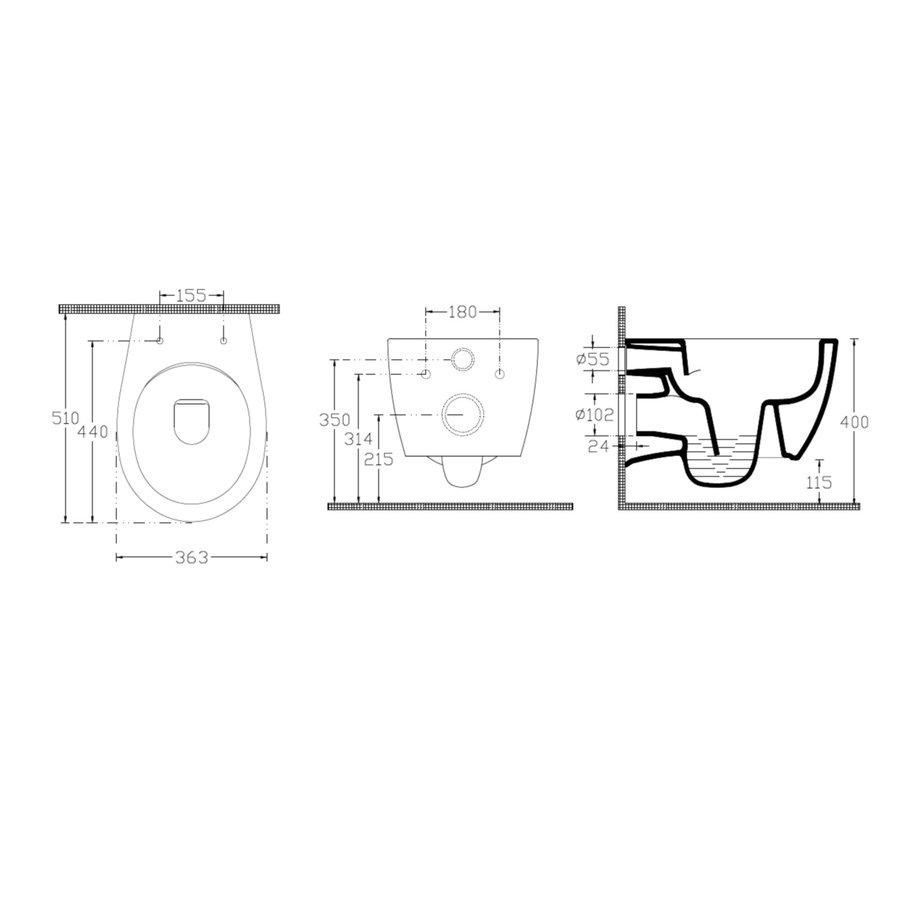Geberit UP320 Toiletset Set60 Bidet Wandcloset Isvea Sentiment met Sigma Drukplaat