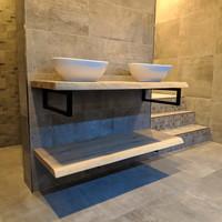 Badkamermeubel AQS Woodstone Bovenblad met Boomstamkant 140 cm (met beugels en twee waskommen)