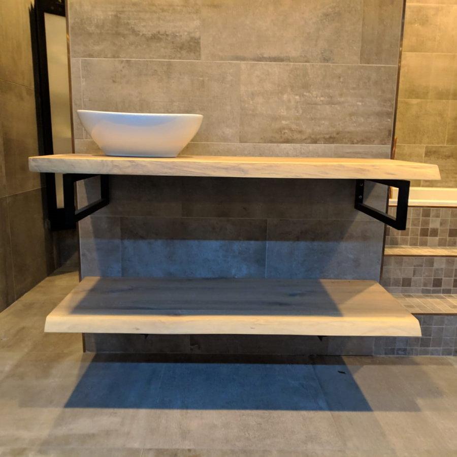 Badkamermeubel AQS Woodstone Bovenblad met Boomstamkant 160 cm (met beugels en waskom)