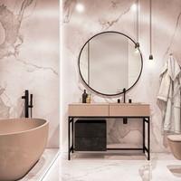 Badkamerspiegel Rond Martens Design Toronto Mat Zwart RVS Frame (alle maten)