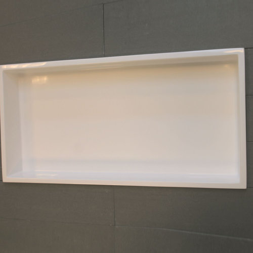 Inbouwnis Luca Sanitair 59,5x29,5x8 cm Polystone Rechthoek Glans Wit