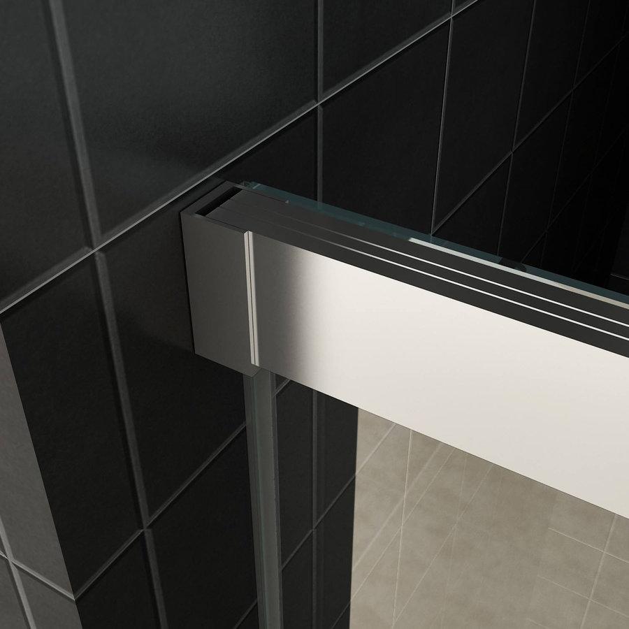 AQS Douchecabine Softclose 2.0 100 cm met Nisdeur en Zijwand 8mm Aluminium NANO Coating (alle varianten)