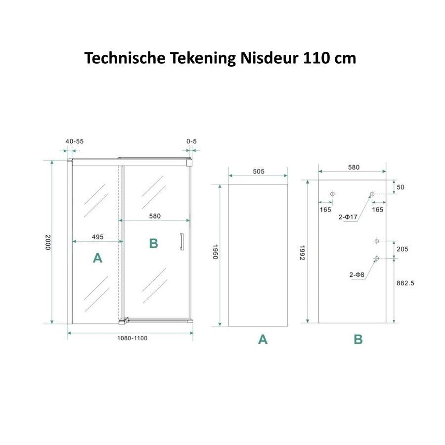 AQS Douchecabine Softclose 2.0 110 cm met Nisdeur en Zijwand 8mm Aluminium NANO Coating (alle varianten)