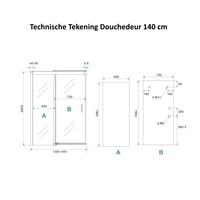 AQS Douchecabine Softclose 2.0 140 cm met Nisdeur en Zijwand 8mm Aluminium NANO Coating (alle varianten)