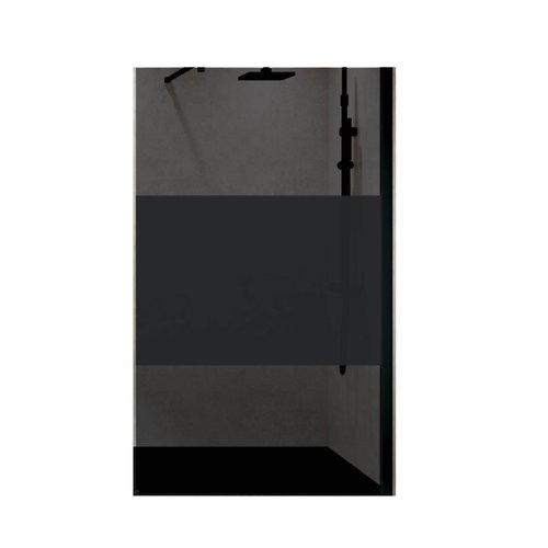 Inloopdouche Novellini Kuadra met Donkere Middenband Mat Zwart Profiel (alle maten)