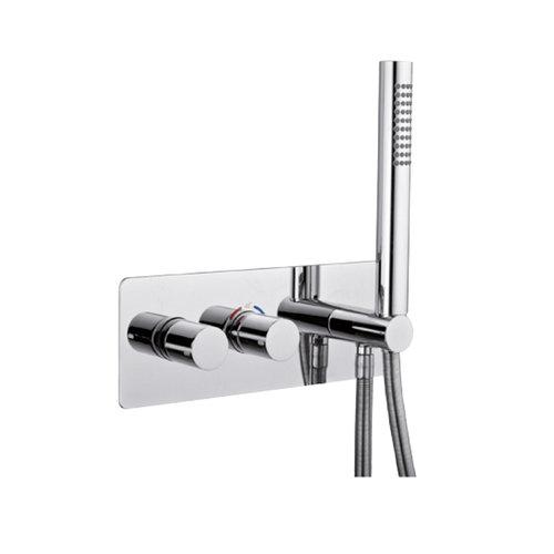 Inbouw Douchekraan Sanimex Giulini Thermostatisch 1-Uitgang Rechthoekig Incl. Handdouche En BOX Inbouwdeel Chroom