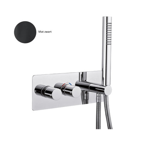 Inbouw Douchekraan Sanimex Giulini Thermostatisch 1-Uitgang Rechthoekig Incl. Handdouche En BOX Inbouwdeel Mat Zwart