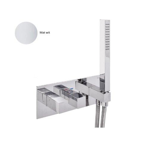 Inbouw Douchekraan Sanimex Giulini Thermostatisch 1-Uitgang Vierkant Incl. Handdouche En BOX Inbouwdeel Mat Wit