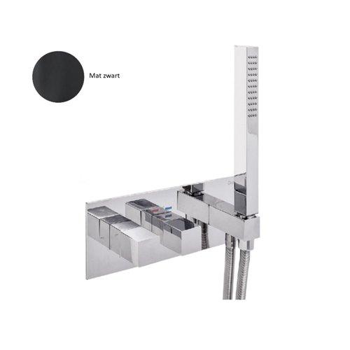 Inbouw Douchekraan Sanimex Giulini Thermostatisch 1-Uitgang Vierkant Incl. Handdouche En BOX Inbouwdeel Mat Zwart