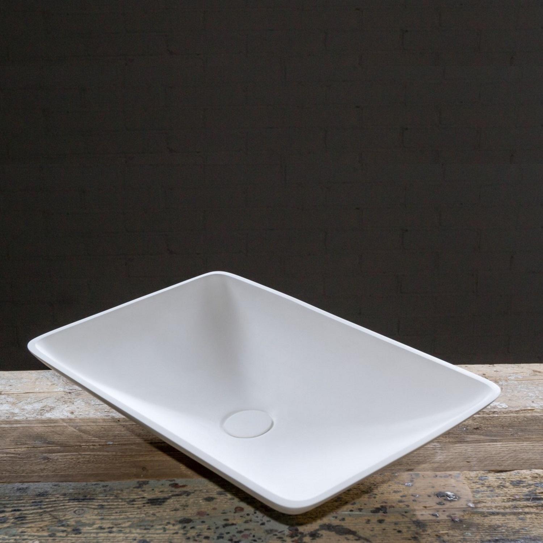 Waskom Opbouw BWS Solid Surface 60x38x10 cm Ovaal Mat Wit Aqua Splash