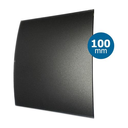 Ventilatierooster Design BWS Ventilatie Vierkant 10cm Gebogen Glas Mat Zwart