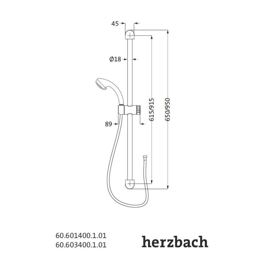 Glijstangset Herzbach Modena 90 cm met Handdouche Chroom