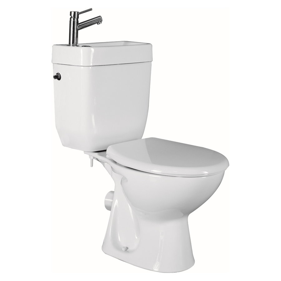 Toilet met Ingebouwde Fontein Keramiek Wit (incl kraan en afvoer)