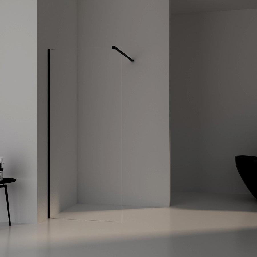 AQS Inloopdouche Pro Line Helder Glas Black Brushed Profiel en Stang (13 varianten)
