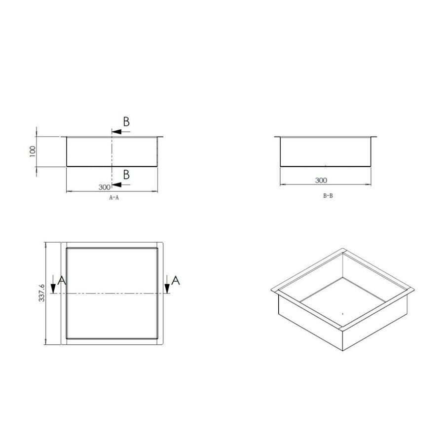 Inbouwnis Wiesbaden 30x30x10 cm RVS Goud