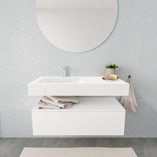 Badkamermeubel AQS Ibiza 100 cm Solid Surface Wastafel Mat Wit (zes varianten)