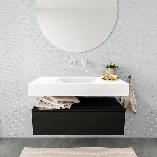 Badkamermeubel AQS Ibiza 100 cm Solid Surface Mat Zwart Wastafel Mat Wit (zes varianten)