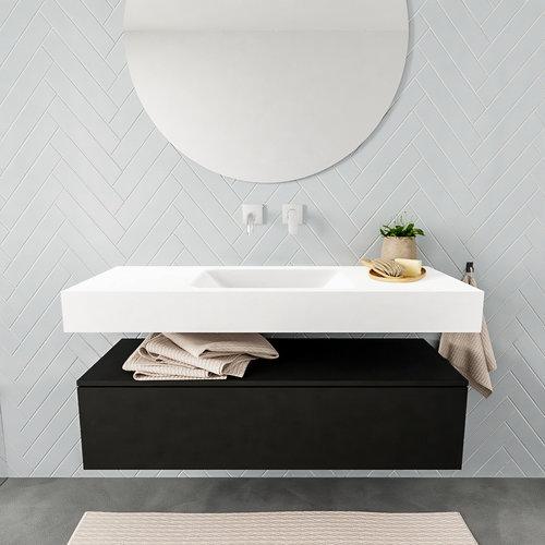 Badkamermeubel AQS Ibiza 120 cm Solid Surface Mat Zwart Wastafel Mat Wit (acht varianten)