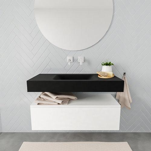 Badkamermeubel AQS Ibiza 100 cm Mat Wit Solid Surface Wastafel Mat Zwart (zes varianten)