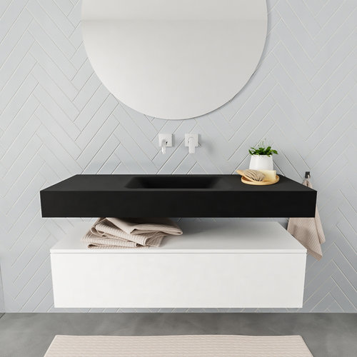 Badkamermeubel AQS Ibiza 120 cm Mat Wit Solid Surface Wastafel Mat Zwart (acht varianten)