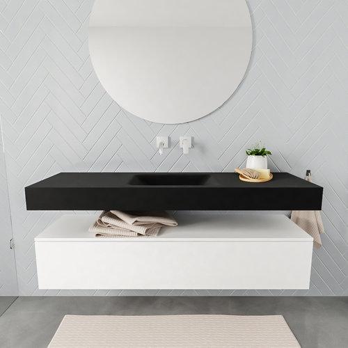 Badkamermeubel AQS Ibiza 150 cm Mat Wit Solid Surface Wastafel Mat Zwart (acht varianten)