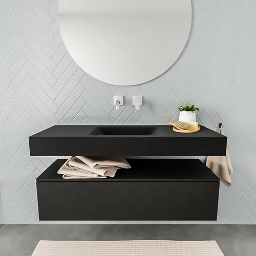 Badkamermeubel AQS Ibiza 120 cm Solid Surface Wastafel Mat Zwart (acht varianten)