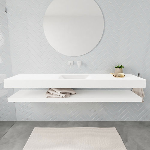 Badkamermeubel AQS Ibiza 200 cm met Planchet Solid Surface Mat Wit (acht varianten)