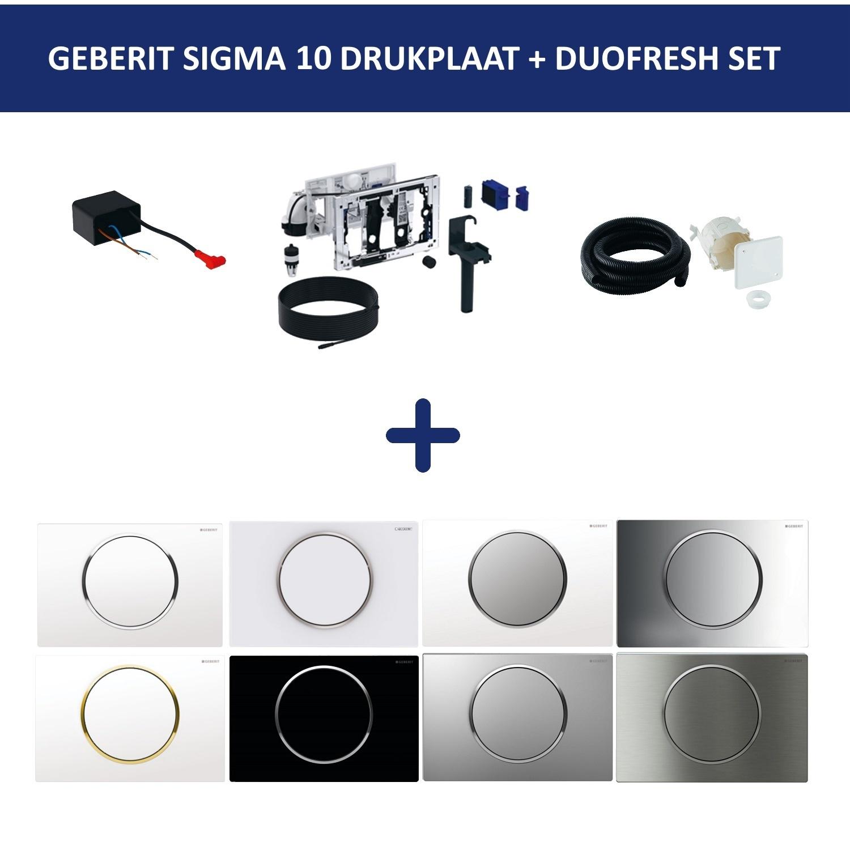 Geberit Bedieningsplaat Sigma 10 + DuoFresh Geurzuiveringssysteem Zwart